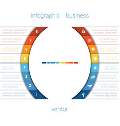 Infographic strips and semicircle 8 vector