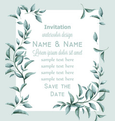 invitation card with green branches watercolor vector image