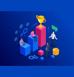isometric team success and teamwork flat design vector image
