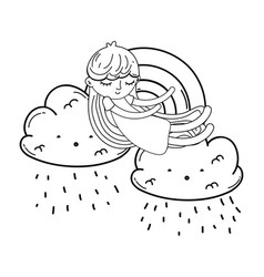 Kid on clouds cartoon in black and white vector