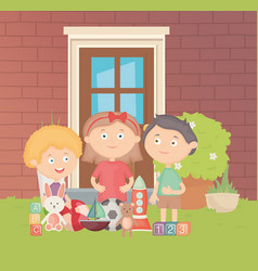 Kids in backyard with many toys vector