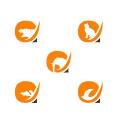 letter a logo with animals negative space style vector image