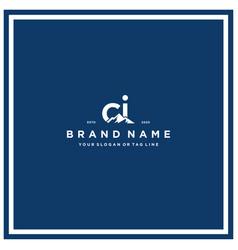 Letter ci mountain logo design vector