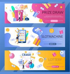 Lottery web banner template set vector