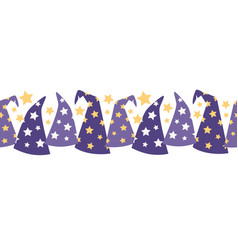Magical starry wizard hats seamless border vector