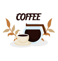 Maker and cup leaves fresh beverage coffee time vector
