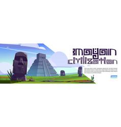 Mayan civilization cartoon web banner with statues vector