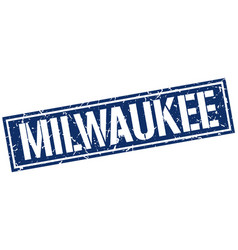 Milwaukee blue square stamp vector