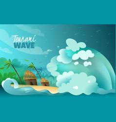 natural disasters tsunami poster vector image