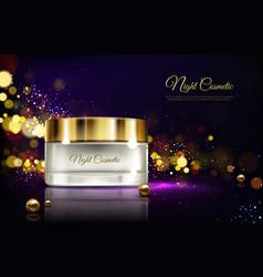 Night cream in jar moisturizing cosmetics vector