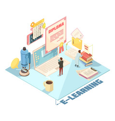 Online education isometric design vector