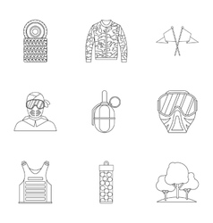 Outfit paintball icons set outline style vector image