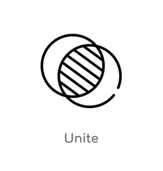 Outline unite icon isolated black simple line vector