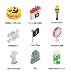 Pack scary halloween in isometric style vector