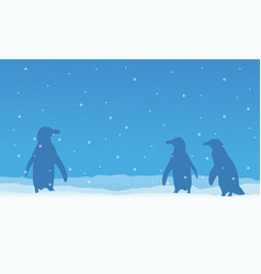 penguin on snow beauty scenery vector image