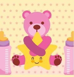 pink bear hugs cartoon star and baby bottles dots vector image