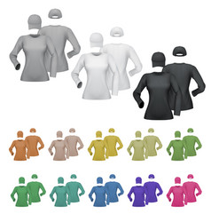 Plain female long sleeve shirt and cap template vector