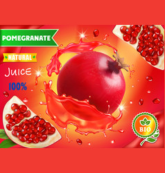 Pomegranate juice ads realistic advertising vector