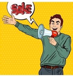 Pop Art Man with Megaphone Promoting Big Sale vector image