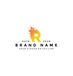 R letter logo fire design vector