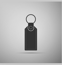 Rectangular key chain with ring for key icon vector
