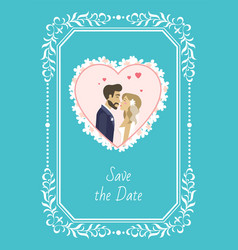 save date bride and groom wedding invitation vector image