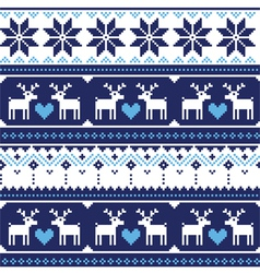 Scandynavian knitted seamless pattern with deer vector image