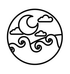 Sea scape scene with moon line style icon vector