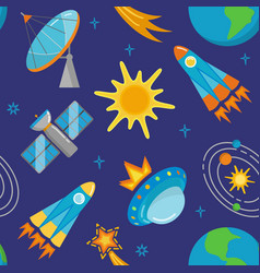 seamless pattern with bright space icons in flat vector image