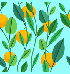 seamless pattern with green leaves and oranges vector image