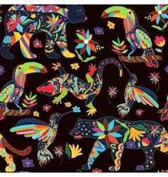 Seamless pattern with isolated Mexican animals and vector image