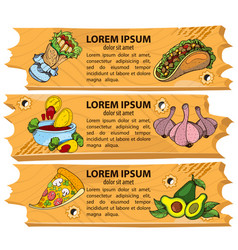 Set banners fast food design elements for the vector