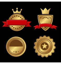 set gold badges vintage award vector image