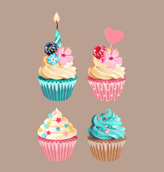 set high detailed varicolored cupcakes vector image