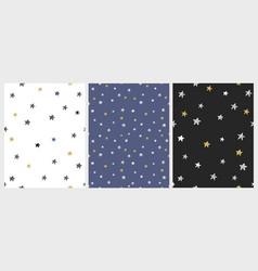 set of 3 varius star patterns vector image