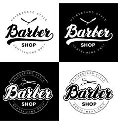 set vintage barber shop logos with hand written vector image