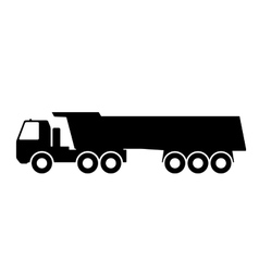 Silhouette of a dump truck on white background vector image