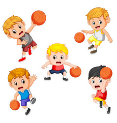 Simple collection of the basketball children vector