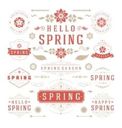 Spring Typographic Design Set Retro and Vintage vector