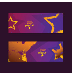 stars in different styles set of cards making vector image