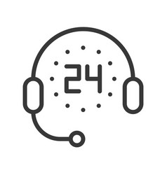 support icon timer 24 hours and headphone pixel vector image