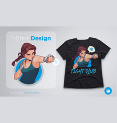 T-shirt design with angry boxing girl with boxing vector