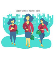 Three modern business women vector