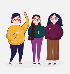 Three people women character with casual clothes vector