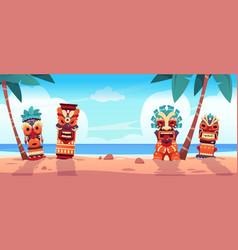 tiki totem on beach hawaiian and african tropical vector image