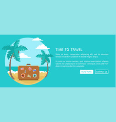 time to travel suitcase with magnets souvenirs vector image