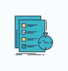 Todo task list check time flat icon green and vector