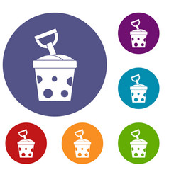Toy bucket and shovel icons set vector