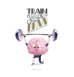Train your brain poster with lettering vector