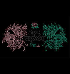 Trendy print with japan dragons vector